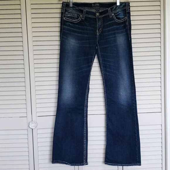 Silver Tuesday Low Rise Jeans, Blue, W34/L33